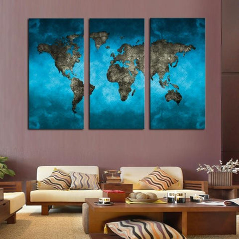 Image of World Map 3 Piece Canvas Limited Edition - World Map 3 Piece Canvas Limited Edition