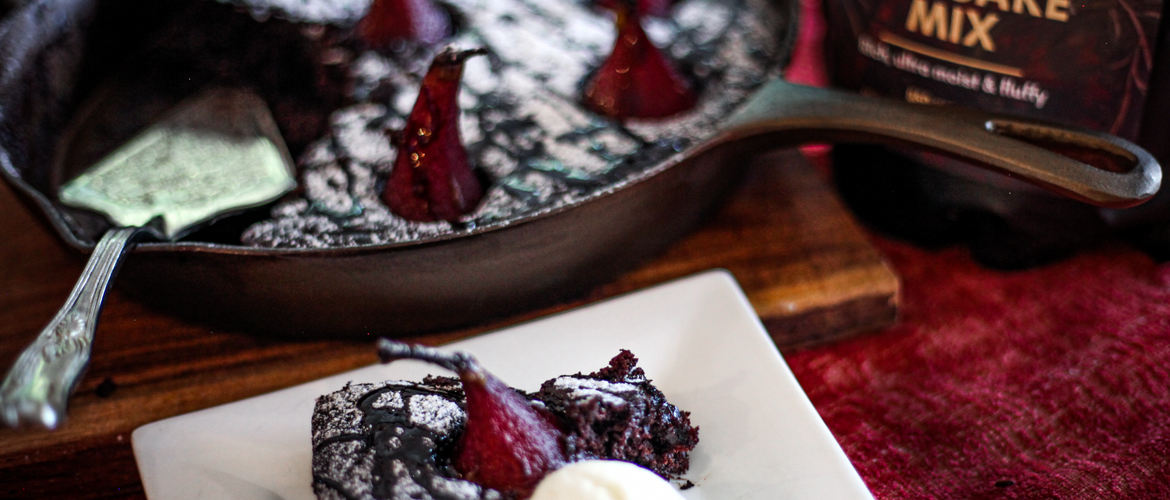 Spiced Red Wine Cast Iron Skillet Cake with Poached Pears