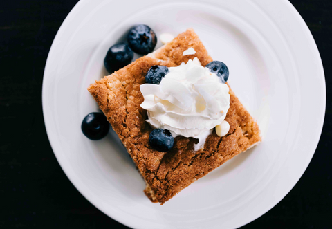 Secret Kiwi Kitchen white chocolate blondie easy home baking mix with whipcream and  blueberries Stephanie Maltby