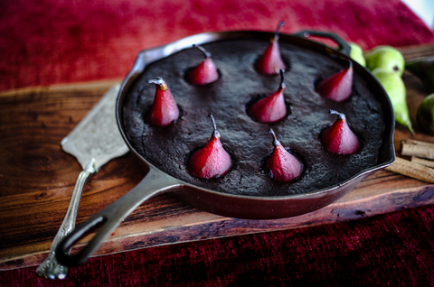 Secret Kiwi Kitchen Spiced Red Wine Poached Pears and Skillet Cake