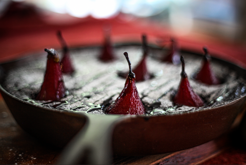 Spiced Red Wine Poached Pears & Chocolate Skillet Cake