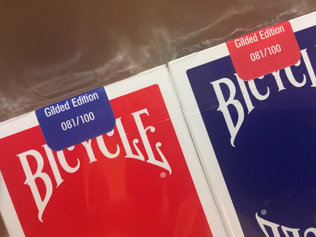 Bicycle Insignia Back - Limited Edition Gilded Edge - Red/Blue Set