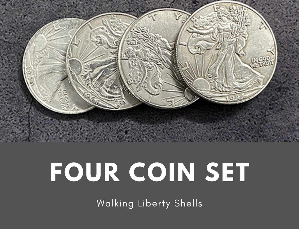 Shelled Four Coin Set Walking Liberty Counterfeit Replicas