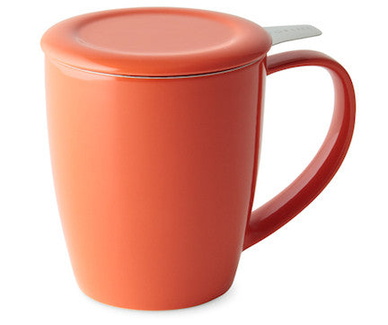 Curve Tall Tea Mug With Infuser - Orange