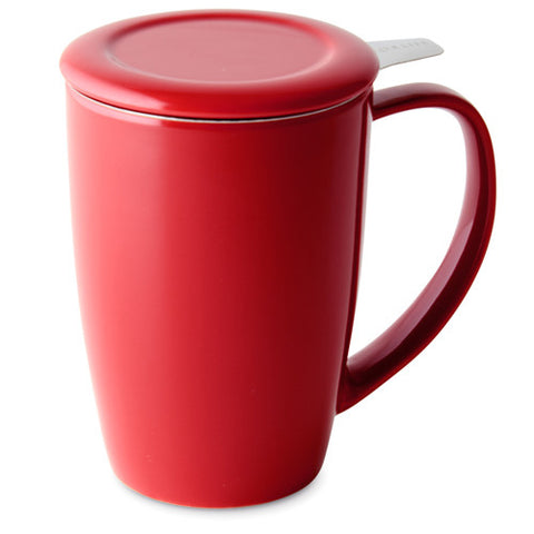 Curve Tall Tea Mug With Infuser - Red