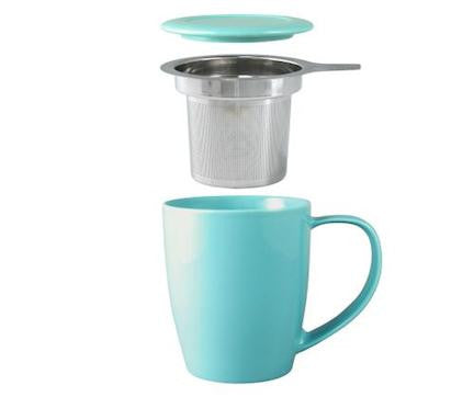 Curve Tall Tea Mug With Infuser Turquoise