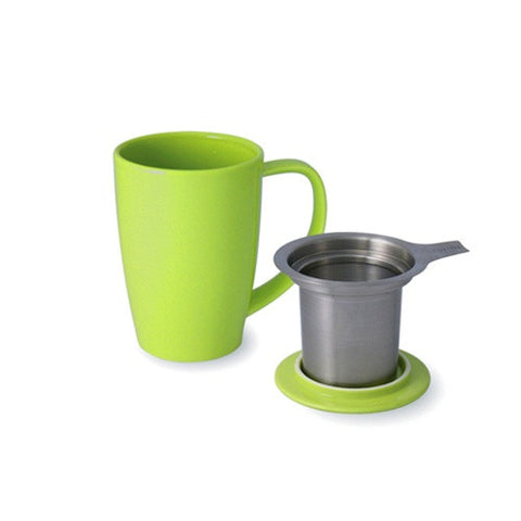Curve Tall Tea Mug With Infuser green
