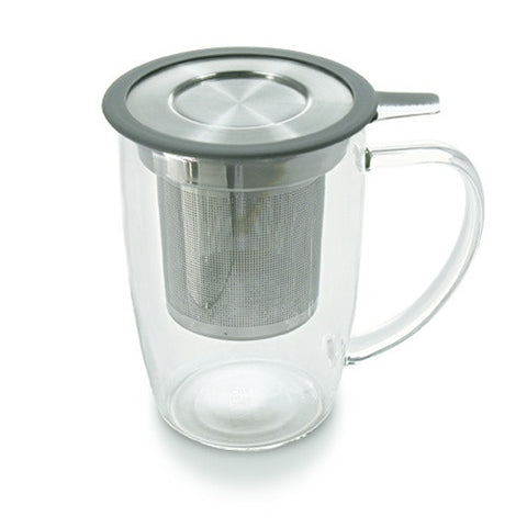 Newleaf Tall Glass Mug with Extra fine Infuser