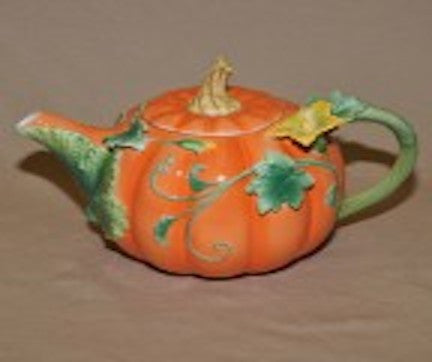 Pumpkin Decorated Ceramic Teapot 36 Oz.