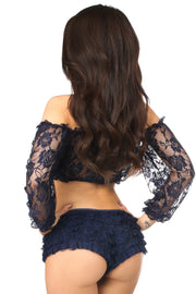 Plus Size Navy Blue Sheer Lace Long Sleeve Peasant Top