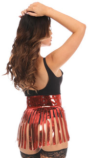 Red Metallic Fringe Skirt