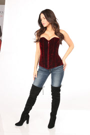 Lavish Red Crushed Velvet Overbust Corset