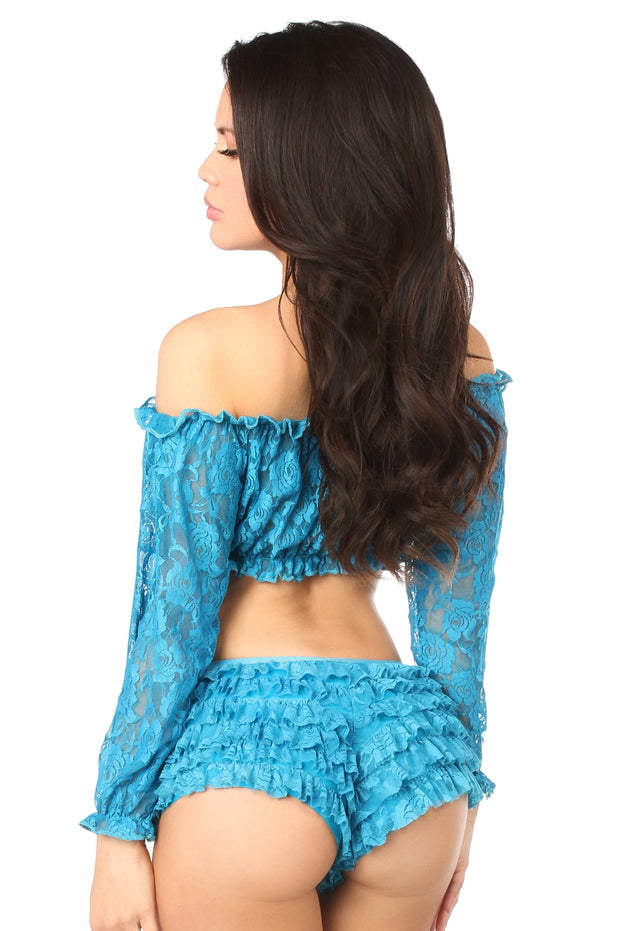 Teal Sheer Lace Long Sleeve Peasant Top