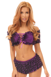 Purple Velvet Lace-Up Peasant Top
