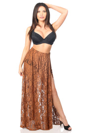 Plus Size Sheer Brown Lace Skirt