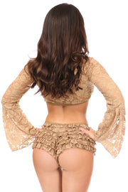 Beige Sheer Lace Bell Sleeve Peasant Top