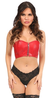 Lavish Red Faux Leather Short Bustier Top