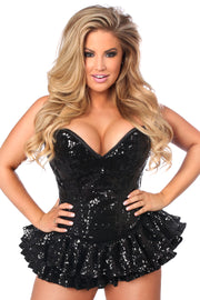 Top Drawer Black Sequin Steel Boned Mini Corset Dress