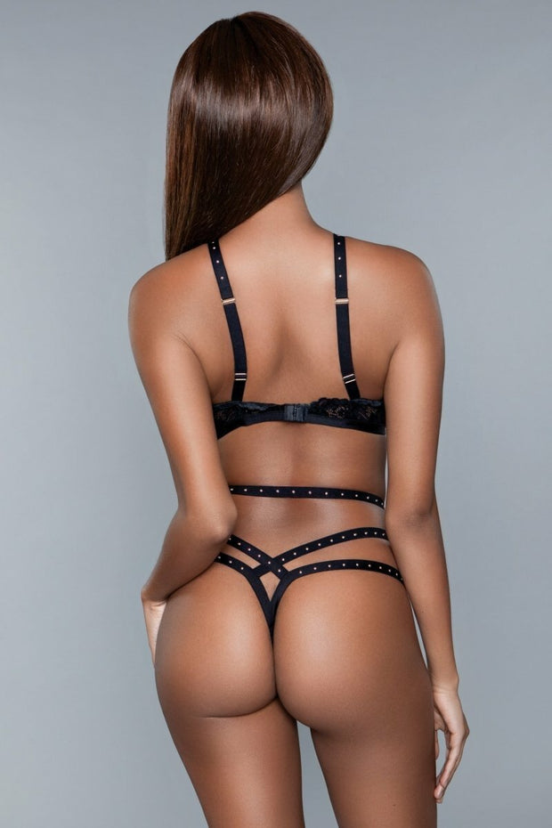 Black Bra And Thong Matching Two-Piece Lingerie Set