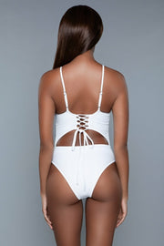 One Piece White Swimsuit With Lace Up Back Swimwear