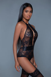 One Piece Bodysuit Satin Floral Lace Teddy With Adjustable Halter Neck