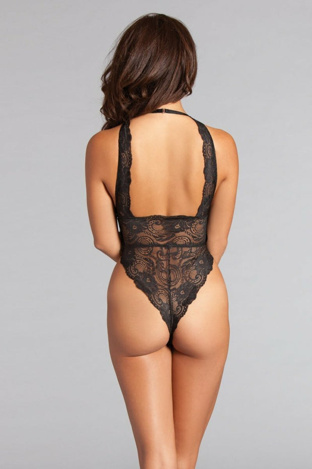 Black Teddy Fashion Lace Halterneck Bodysuit For Women