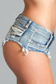 BWJ3BL Baby Got Back Booty Shorts  - Light Wash