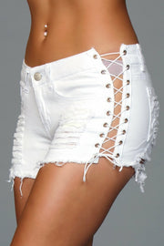 J5WT Looped In Distressed Shorts - White