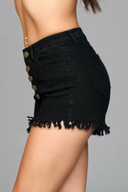 J9BK Fringed Button Up Shorts - Black