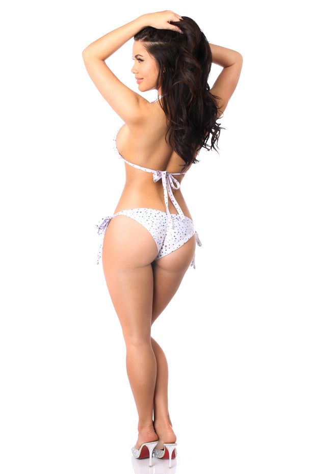 Rainbow Foil Dot Rhinestone Pucker Back Bikini