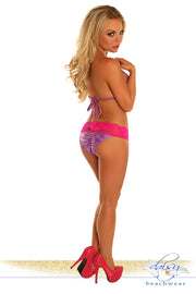 Purple Glitter Lace Trim Pucker Back Bikini