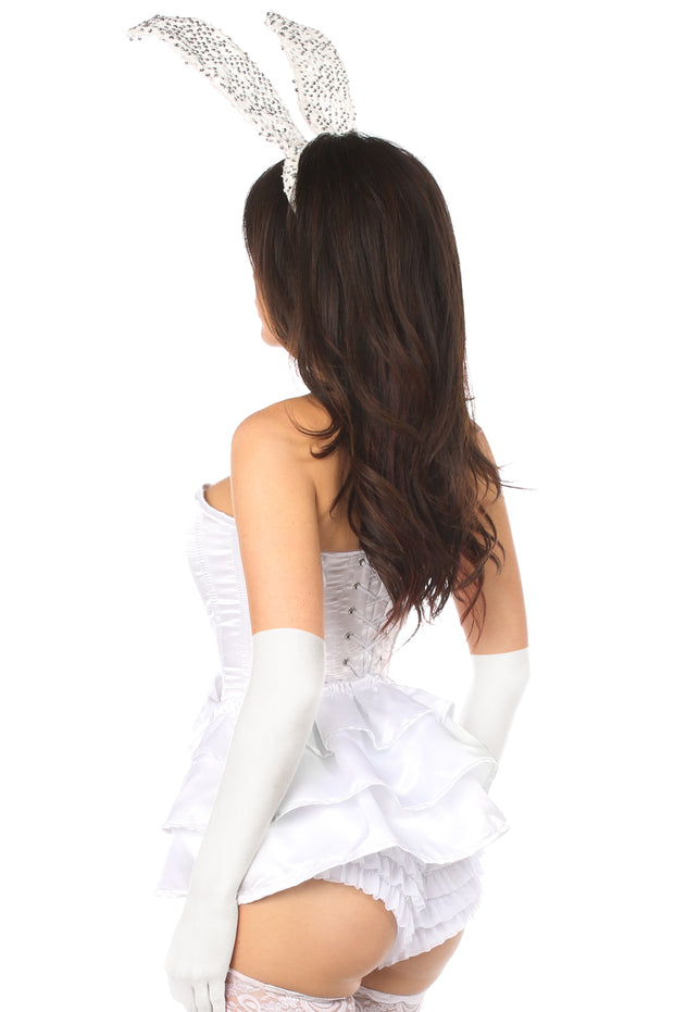 Lavish 4 PC White Bunny Corset Costume