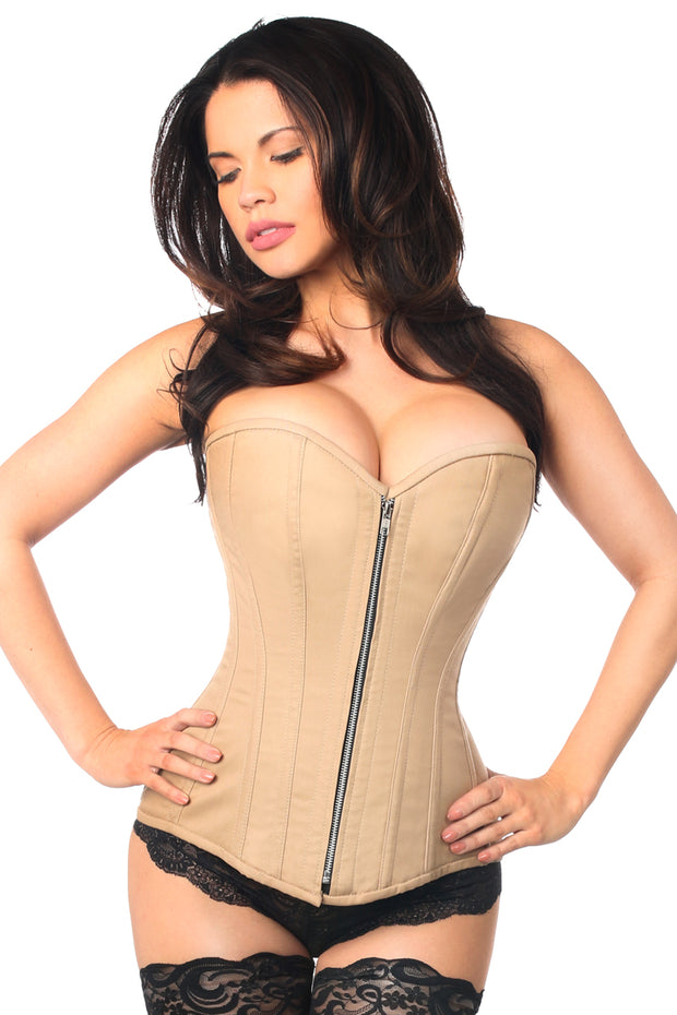 Top Drawer Tan Cotton Steel Boned Corset w/Zipper