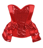 Top Drawer Red Satin & Sequin Steel Boned Corset w/Removable Snap Skirt