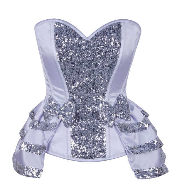 Top Drawer White/Silver Satin & Sequin Steel Boned Corset w/Removable Snap Skirt