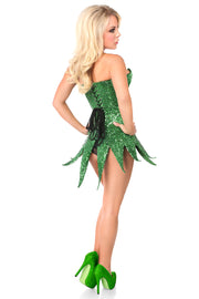 Top Drawer Green Sequin Steel Boned Corset Dress