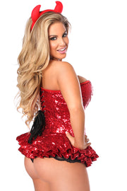 Top Drawer Premium Sequin Devil Corset Dress Costume