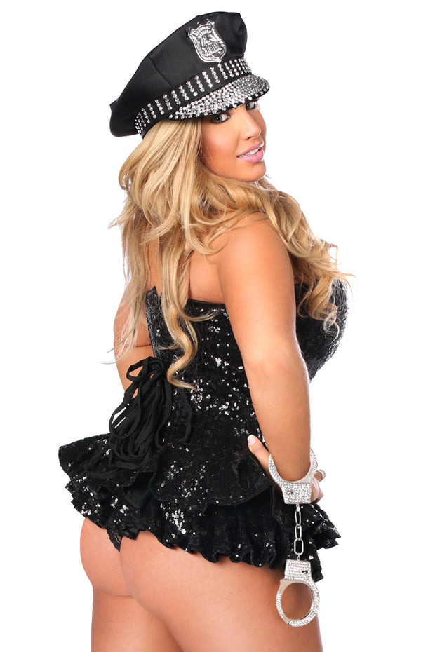 Top Drawer Premium Sequin Cop Corset Dress Costume