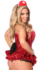 Top Drawer Premium Sequin Nurse Corset Dress Costume