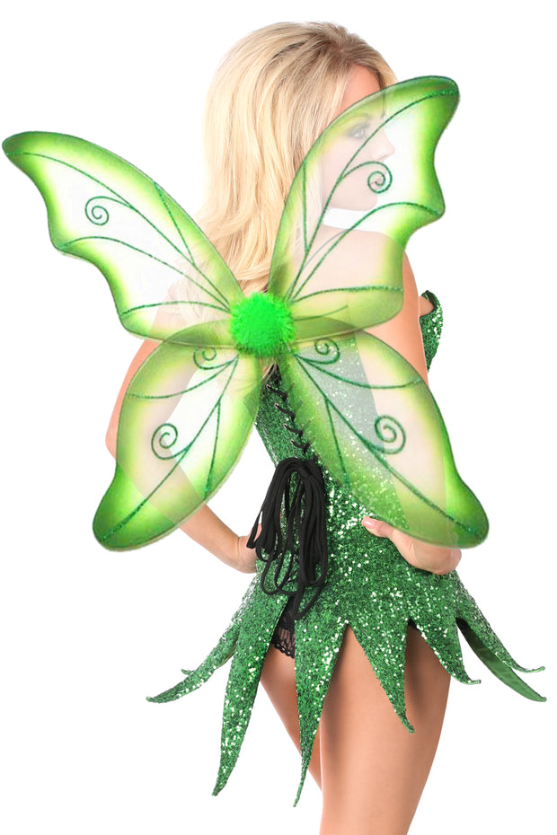 Top Drawer Green Sequin Fairy Corset Dress Costume