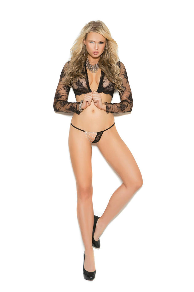 Black Lace G-String With Chains