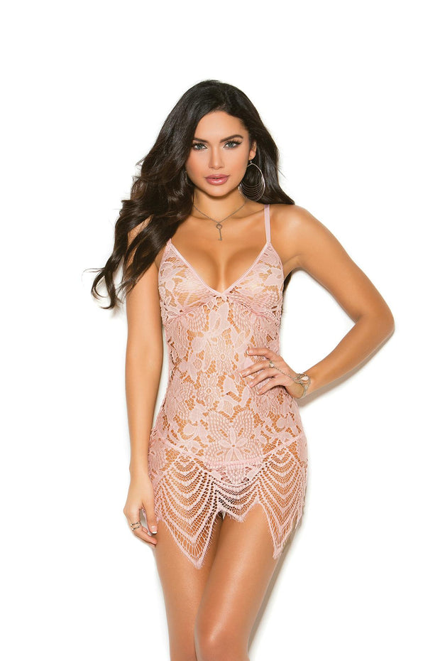Dusty Rose Lace Babydoll