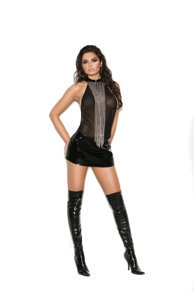 Vinyl & Mesh Dress W/ Chains