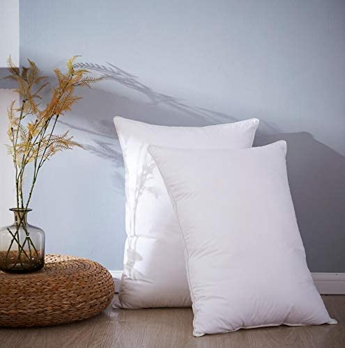WARFFET Goose Feather Pillows for Sleeping 2 Pack 100% Cotton Mixed with Microfiber Grey Queen 20x28inches