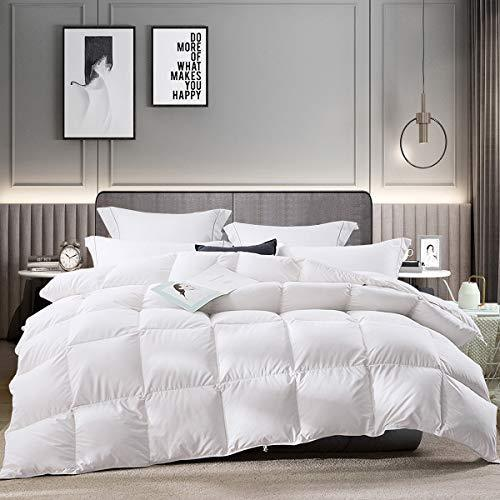 LUOSIFEN Goose Down Comforter Cool Duvet Inserts Queen Size Lightweight for All Seasons Grey(90x90)