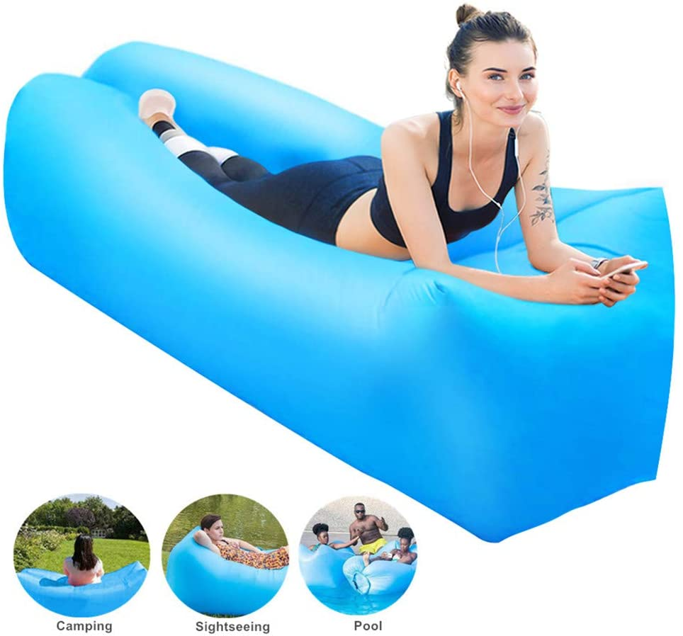 Jemyda Inflatable Lounger Portable Waterproof Air Couch for Indoor Backyard Pool, Anti-Leakage Beach Lounger for Camping Travel