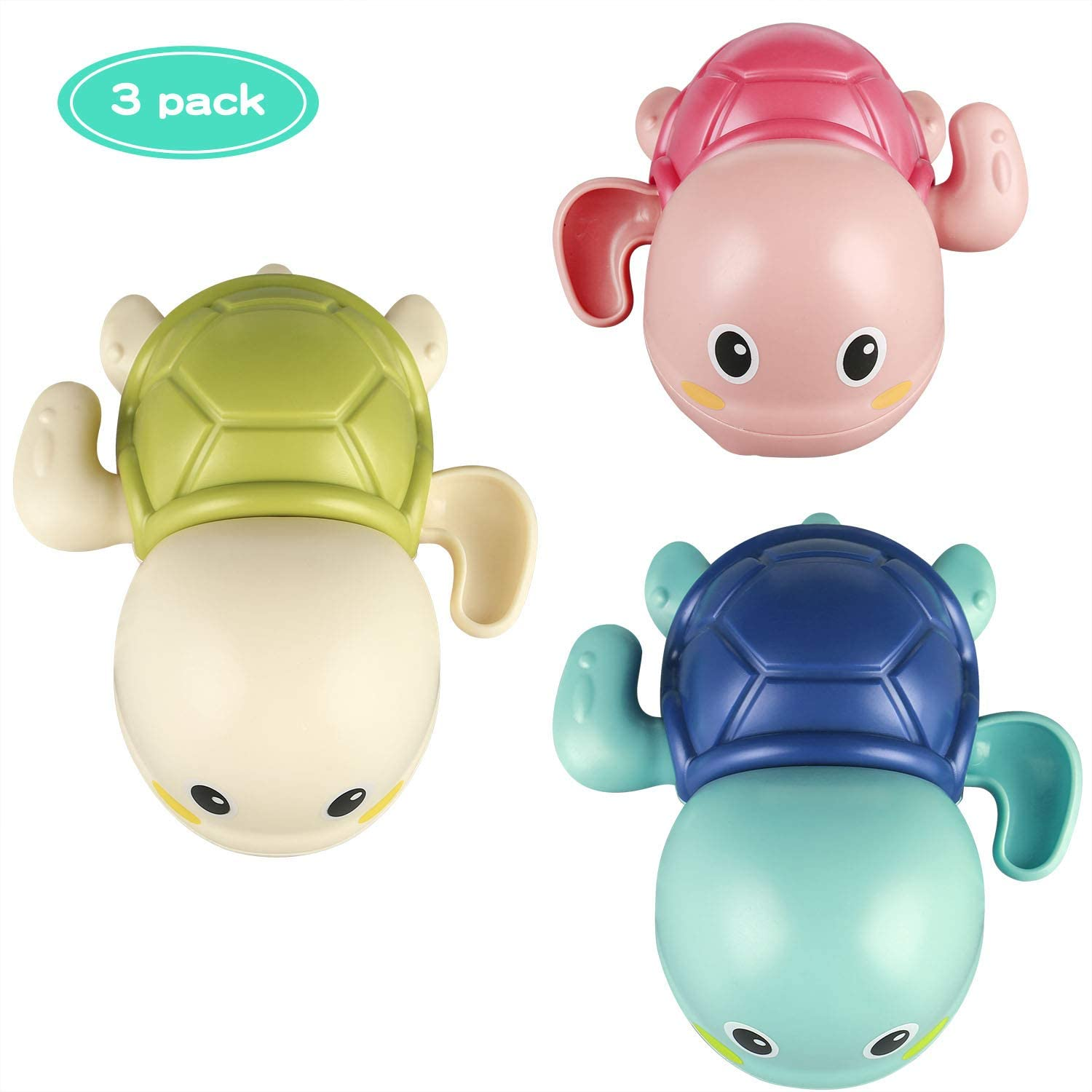Baby Bath Toys Wind up Turtle Toys Multi-Colors Floating Toy Swimming Bathtub, Beach, Pool Playset for Kids Toddler Boys and Girls (3 Packs)
