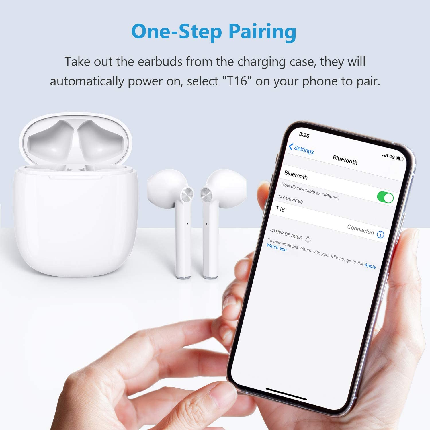 Wireless Earbuds, HSPRO Bluetooth 5.0 Earbuds Touch Control in-Ear True Wireless Headphones, 20 Hrs Playtime with Charging Case