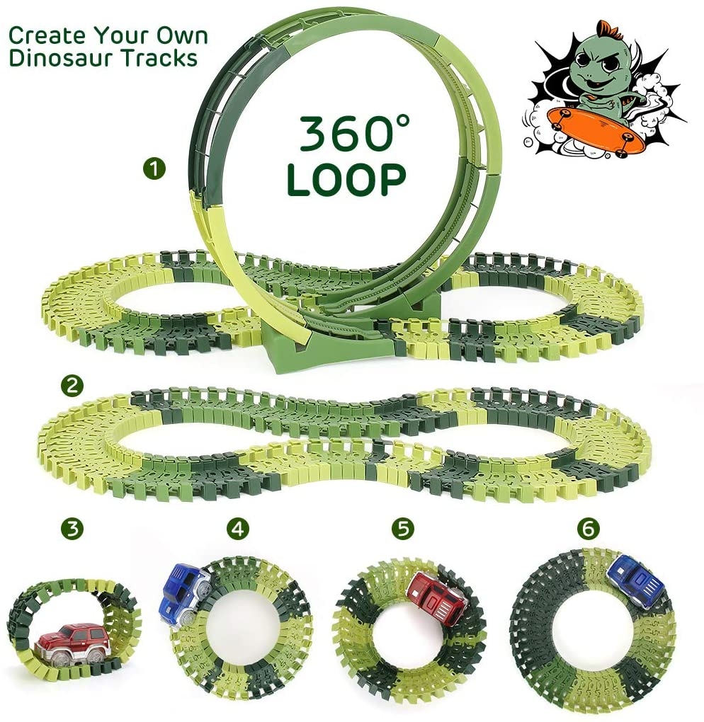 Dinosaur Toys 222pcs Race Track Toy Set - Create A Dinosaur World Road Race, Flexible Track Playset