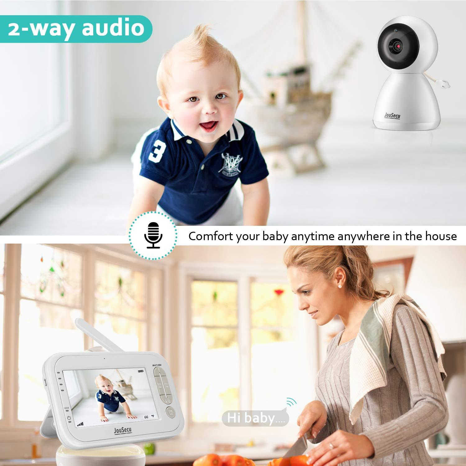 Video Baby Monitor with 2 Cameras 4.3 Inches LCD Split Screen 1440mAh Rechargeable Battery 2-Way Audio Baby Crying Detection Night Vision Temperature Detection